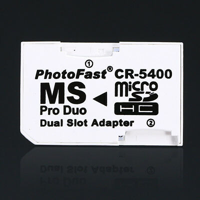 Micro SD SDHC TF to MS Memory Stick Pro Duo Adapter Dual Slot Converter for PSP
