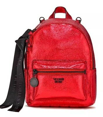 8e70517e1d2 Victoria Secret Metallic Crackle Mini City Backpack SEXY Hot RED RUBY Bag  NEW