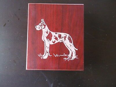 Great Dane [Harlequin] Hand engraved Wine Tool Box by Ingrid Jonsson.