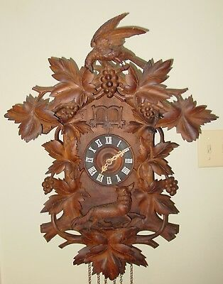 Antique Excellent 2 bird cuckoo quail carved black forest clock----15430