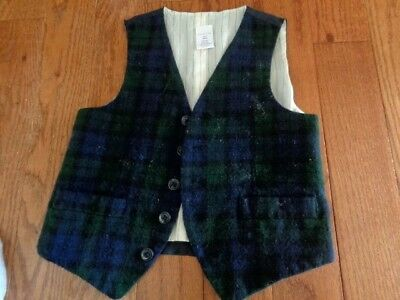 CREWCUTS 6/7 Navy watch plaid wool vest. fully lined. Worn once.