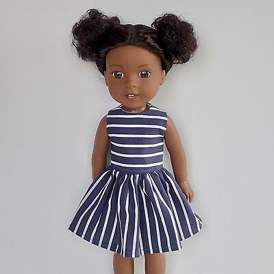 "New Doll Clothes Stripe Dress Fits The 14.5"" American Girl Wellie Wishers"