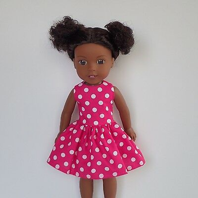 "New Doll Clothes Polka Dot Dress Fits The 14.5"" American Girl Wellie Wishers"