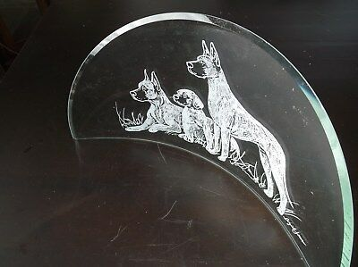 Great Dane [Fawn]  Hand engraved, Freestanding Half Moon Bevel by Ingrid Jonsson
