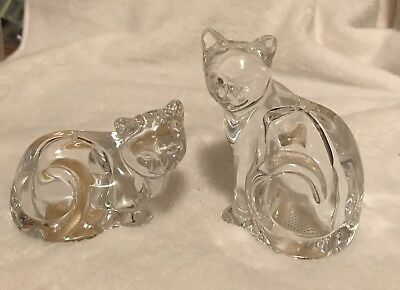 Vintage Salt Pepper Shakers Cats Kittens Felines Fine Crystal