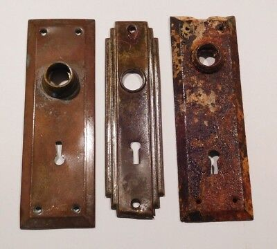 3 Antique Vintage Door Knob Lock Key Hole Plates-Great Condition-Low Price