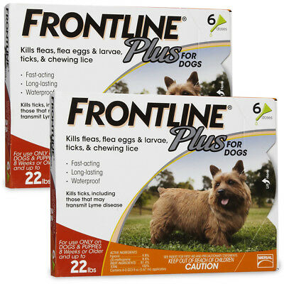 New Merial Frontline Plus For Dogs 0-22 lb 6 Month Supply