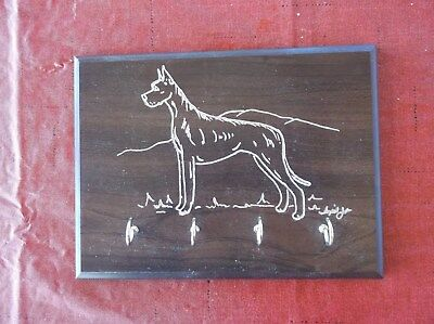 Great Dane- Quality Wood Key Rack hand engraved by Ingrid Jonsson