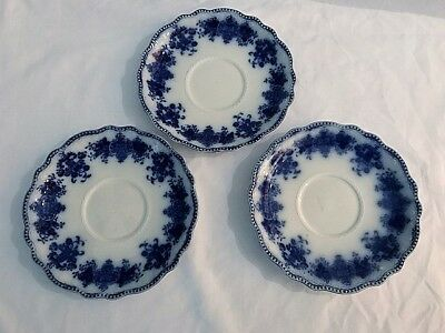 """3 Antique Flow Blue Clarence Saucers by Grindley, 5 7/8"""", circa late 1800's"""