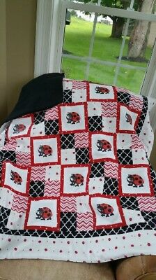 Super Soft Fleece Back Hand made Baby Lady Bug Quilt