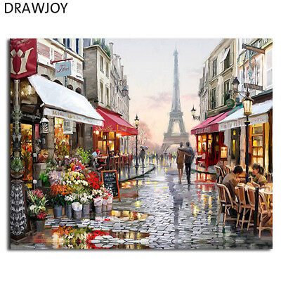 Painting By Numbers Paris Wall Art Framed Pictures Eiffel Acrylic Paintings ...