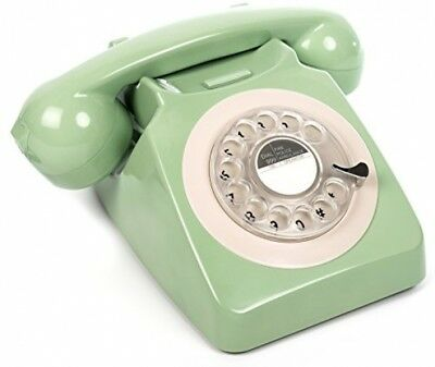 Rotary Telephone Green Landline Home Phone Old Retro Style Corded