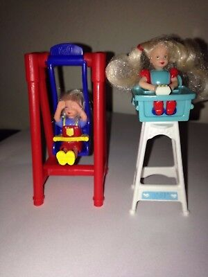 Set of 2 Vintage Mattel Barbie McDonalds Kelly Doll Toys – Highchair & Swing