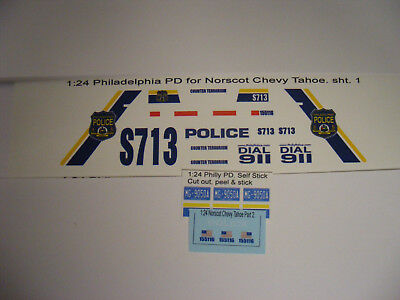 Philadelphia PA Police 1:24 Water Slide Decals Fits 1/24 Norscot Chevy Tahoe New