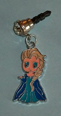 Cell Phone Anti Dust Plug Cover Rhinestone Dangle Charm Frozen Elsa