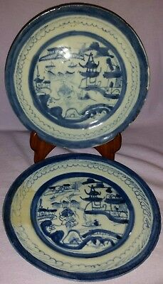 Pair Of Late 1600's To Early 1700's Chinese Canton Plates