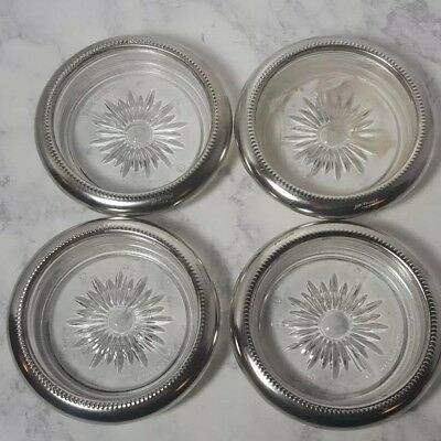 Vintage Leonard Crystal and Silver Plate Coasters from Italy