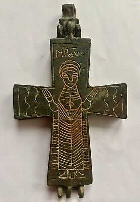 Ancient Double Sided Byzantine Bronze Large Reliquary Cross Excellent Condition