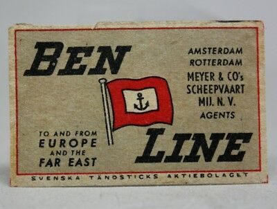 Antique Old MATCHBOX LABEL BEN LINE Scottish Shipping Company/ Made in SWEDEN