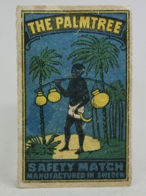 Antique Old MATCHBOX LABEL THE PALMTREE Made in SWEDEN/ Safety Matches