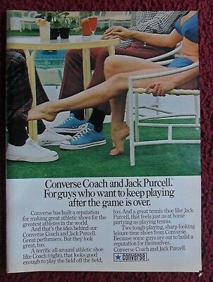 1973 Print Ad Jack Purcell Converse Tennis Shoes Sneakers ~ Keep Playing After