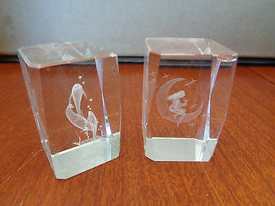 Vintage Glass Crystal Paperweights - Laser Etched - Dolphin & Girl/Crescent Moon