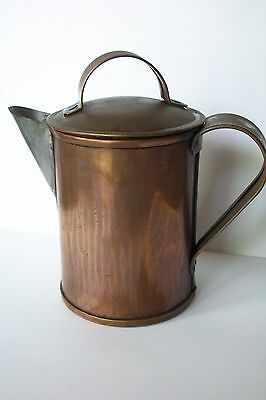 Antique Copper Tea Pot and Lid Hand Crafted Beautiful Aged Patina