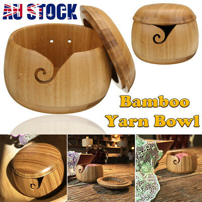 For Yarn Skeins Knitting Crochet Wooden Bamboo Yarn Bowl Holder + Lid Cover