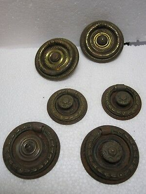 Lot 6 Antique Round Hepplewhite Empire Drawer Handles Furniture Pulls Hardware