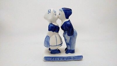 Hand Painted Delft Holland Kissing Couple Blue & White Figurine