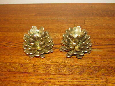 Pair of Matching Solid Brass Pine Cone  Taper Candle Holders