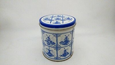 "Delft Holland AGRO Cookie Tin & Lid With Windmills - 4 1/2"" Tall"