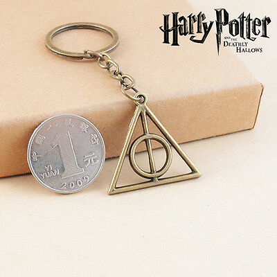 Harry HP The Deathly Hallows Metal Keychain Elder Wand Stone Invisibility Cloak