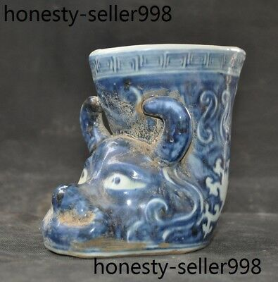 Chinese Old Blue&White porcelain Ox cattle head statue wineglass cup Wine vessel