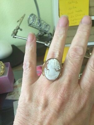 Classic Hand Carved Italian Cameo Ring G/P Sterling Silver