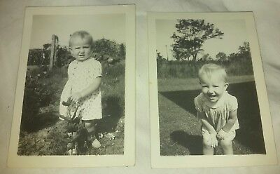 2 Vintage Old 1940's Photos of a Cute Little Girl in Garden Bent Over Laughing