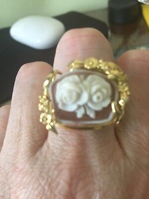 Hand Carved Flower Sardonyx Shell Cameo Ring G/P S/Silver