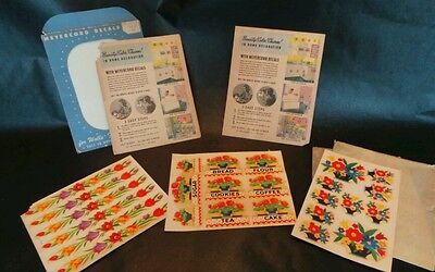 Nice Lot of Vintage Meyercord Decals and Appliques Old and Unused 50's Canisters