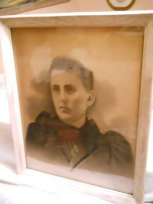 """Antique Late 1800's Huge 16""""x20"""" B&w Portrait Young Lady Victorian Dress Framed"""