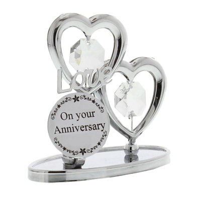 Silver Chrome Crystal Ornament On Your Anniversary Love Heart Wedding Gift
