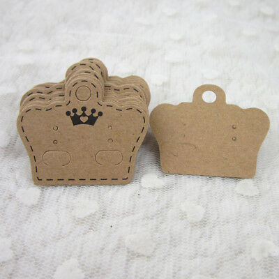 100x DIY Earrings Ear Studs Tags Kraft Paper Display Crown Cards Hanging Jewelry