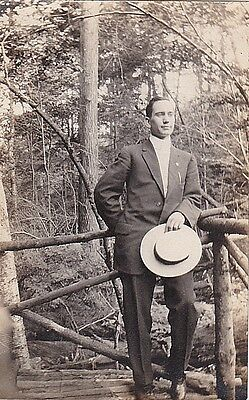 Old Antique Photograph Well Dressed Man Holding Hat Standing on Bridge