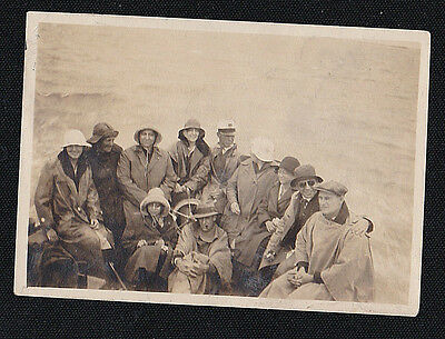 Old Antique Vintage Photograph People in Boat Wearing Rainhats & Raincoats