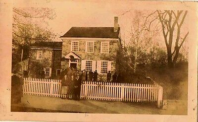 Old Antique Vintage Photograph Gorgeous Brick Home with Tons of People Outside