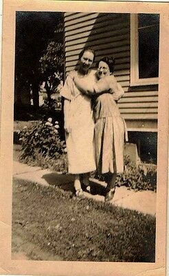 Old Vintage Antique Photograph Two Women Hugging In Front of House