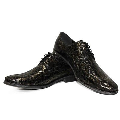 Men's Shoes Modello Indigo Handmade Colorful Italian Leather Oxford Dress Shoes Black Clothing, Shoes & Accessories