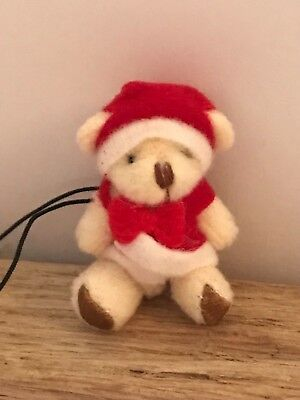 1 x Mini Christmas Teddy Bears Jointed Key Ring Charms Santa Stocking Fillers