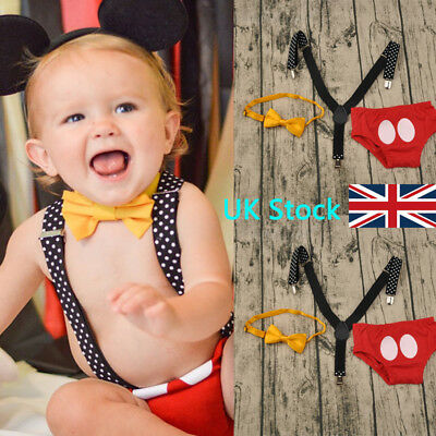 UK 3PCS Baby Boys Suspenders Pants Newborn Kids Bowtie Outfit Cake Smash Clothes