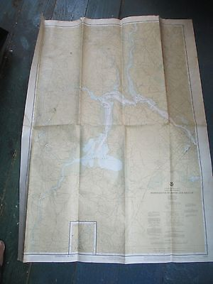 "Vintage 1978 Nautical Chart  Portsmouth, NH to Dover & Exeter 47 3/4"" x 35 1/2"""