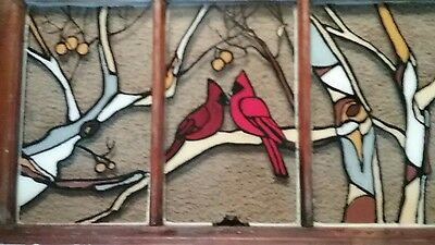 Hand Painted Stained Glass Look  Wood Window 3 Panel Sycamore Tree & Cardnials